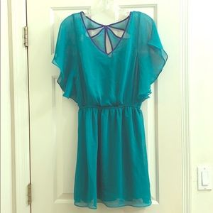Express turquoise dress with blue cutouts small